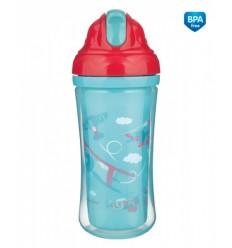 Canpol babies Športová fľaša s dvojitou stenou a silikónovou slamkou 260 ml 12m+ Racing