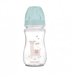 Canpol babies Dojčenská antikoliková fľaša široká EasyStart 240ml 3m+ Exotic Animals modrá